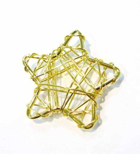 Stern Perlen Silber Eiskristall Metall Weiß Weihnachten: Draht-Stern - Anhänger Ca. 28mm - Gold Farbig
