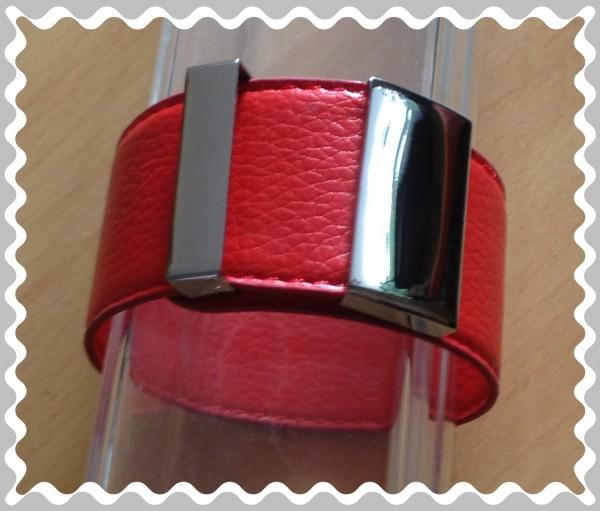 Edelstahl-Armband, echt Leder, Schnapparmband mit Edelstahlteilen- rot