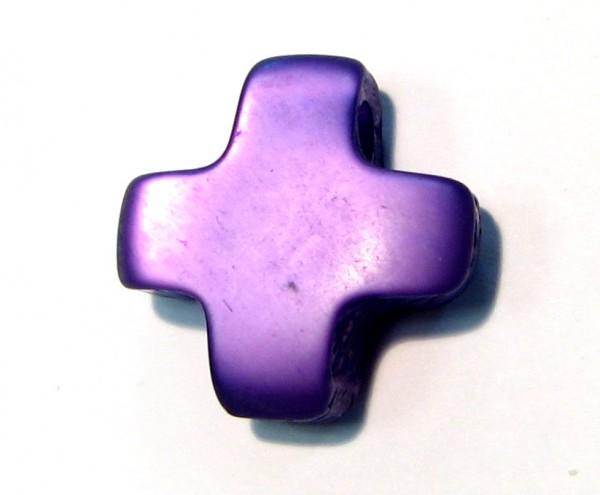 Polaris-Kreuz - dunkel-lila- mit Doppelloch