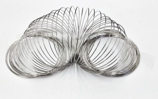 Memory-Wire für Armreifen -Durchmesser 5cm- Stärke 0,6mm, Farbe platin, 100 gr