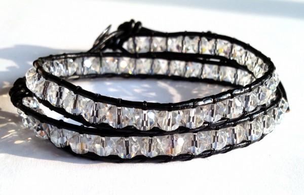 Wickelarmband 2-fach, auch als Choker tragbar, Größenverstellbar, Kristall AB