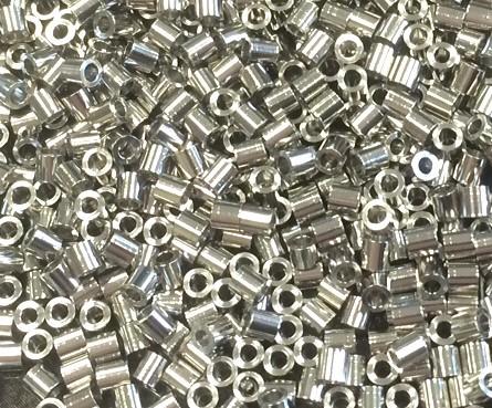 Schmelzperlen - Quetschperlen/ -röhren (2x2mm) - 1 Gramm - ca. 33 Stk.- EDELSTAHL
