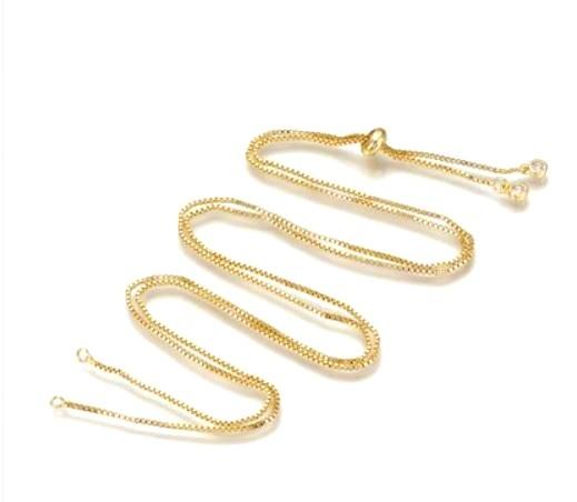 DIY-Kette - verstellbar - für endlose Designs - Farbe: gold mit Zirkonia