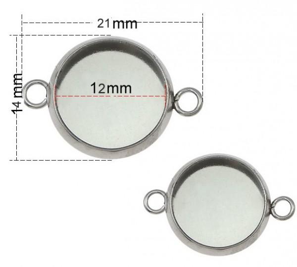 Schmuckverbinder Element für 12mm Cabochons - Edelstahl - 1 Stück